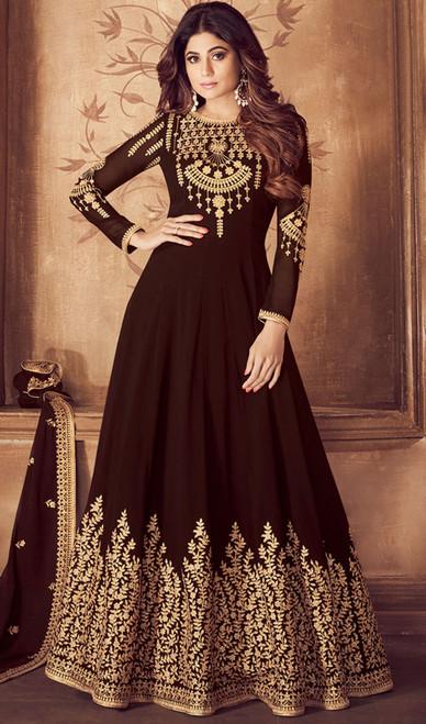 Embroidered Brown Color Georgette  Anarkali Dress