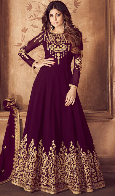 Purple Color  Anarkali Suit in Embroidered Georgette