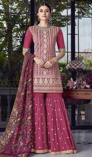 Pink Color Embroidered Silk Palazzo Suit
