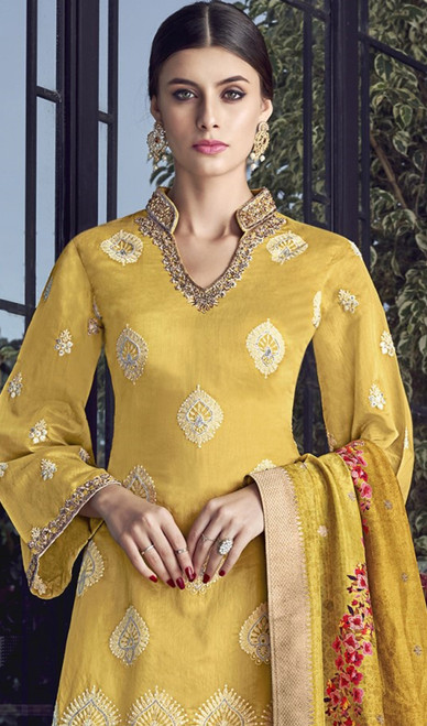 Yellow Color Silk Embroidered Palazzo Dress
