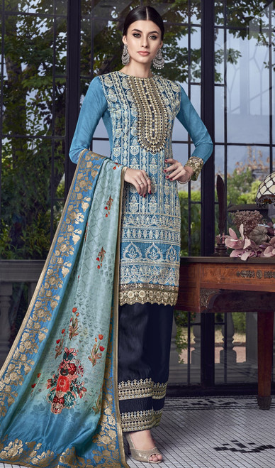 Blue Color Embroidered Silk Palazzo Suit