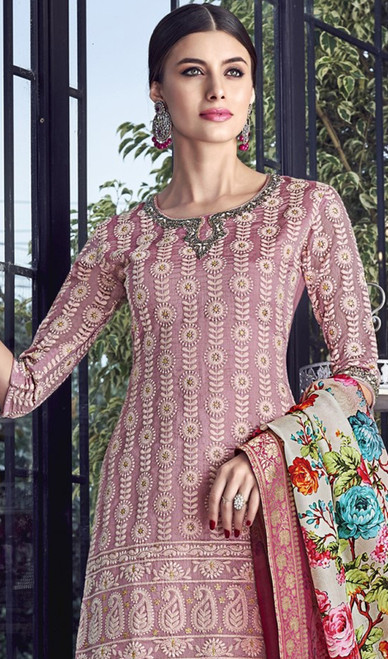 Embroidered Pink Color Silk Palazzo Dress