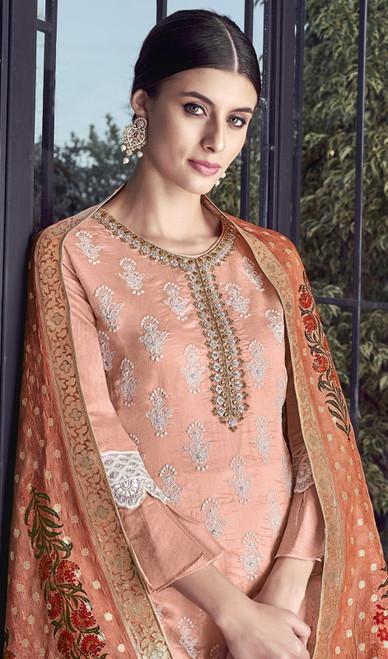 Peach Color Silk Embroidered Palazzo Dress