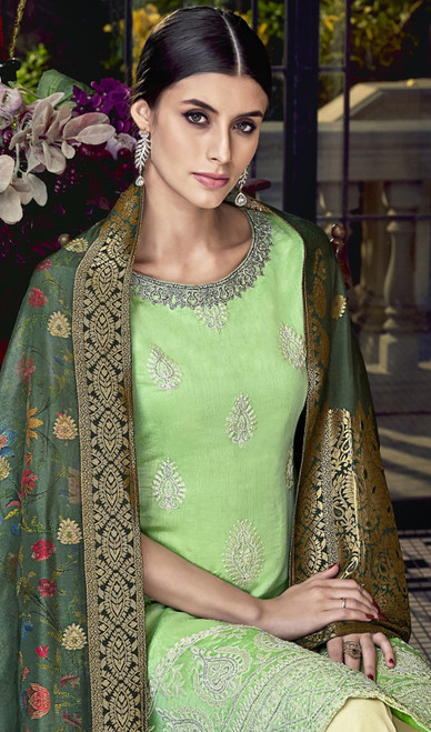 Palazzo Suit in Green Color Embroidered Silk