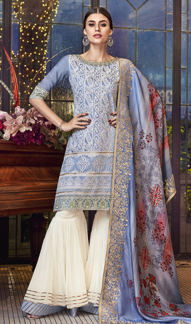 Gray Color Silk Embroidered Palazzo Dress