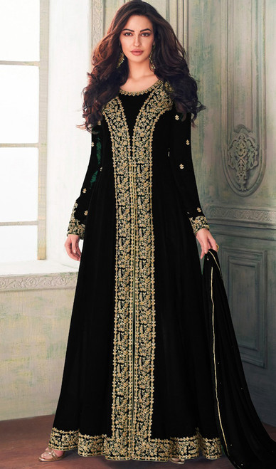 Black Color Embroidered Georgette Long Suit