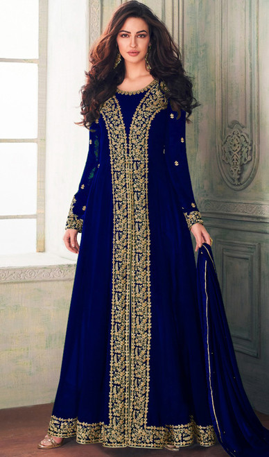 Blue Color Georgette Embroidered Long Dress