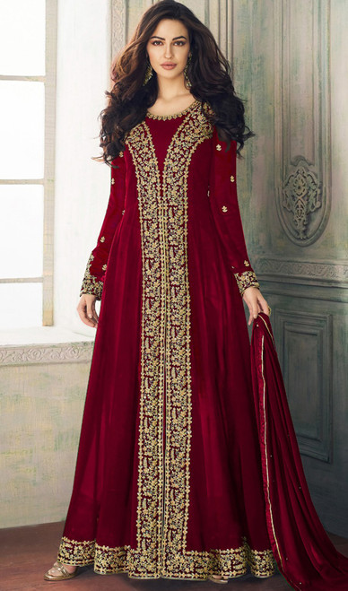 Maroon Color Embroidered Georgette Long Suit