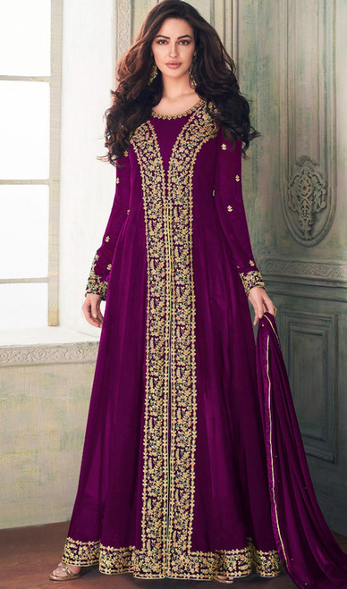 Purple Color Georgette Embroidered Long Dress