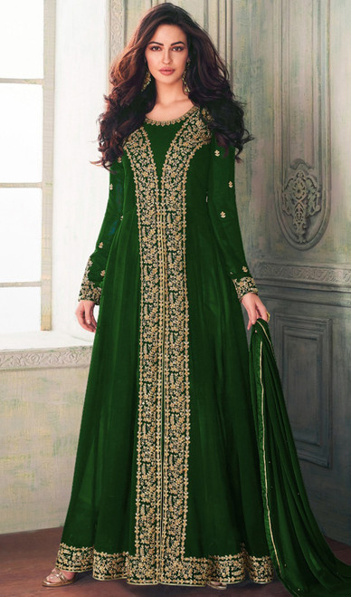 Georgette Long  Green Color EmbroideredSuit