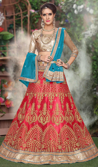 Salmon Color Embroidered Net Lehenga Choli
