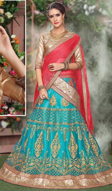 Turquoise Color Shaded Net Lehenga Cholie