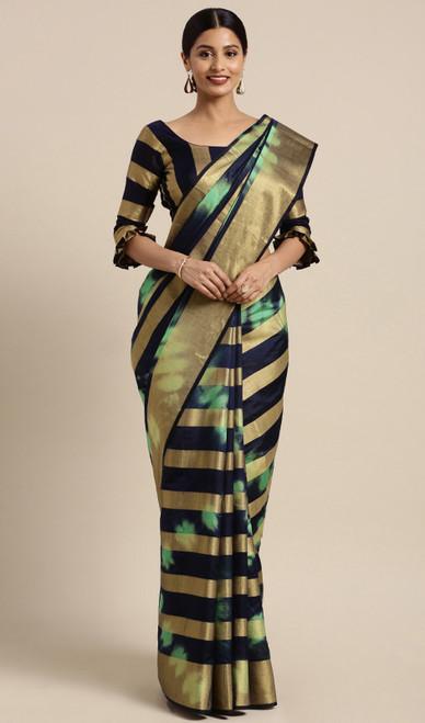 Black and Green Color Shaded Banarasi Silk Sari