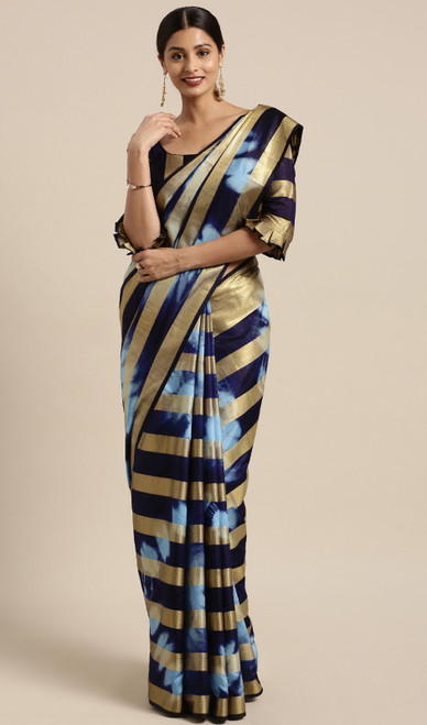Black and Blue Color Shaded Banarasi Silk Sari