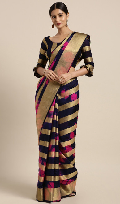 Black and Pink Color Shaded Banarasi Silk Sari