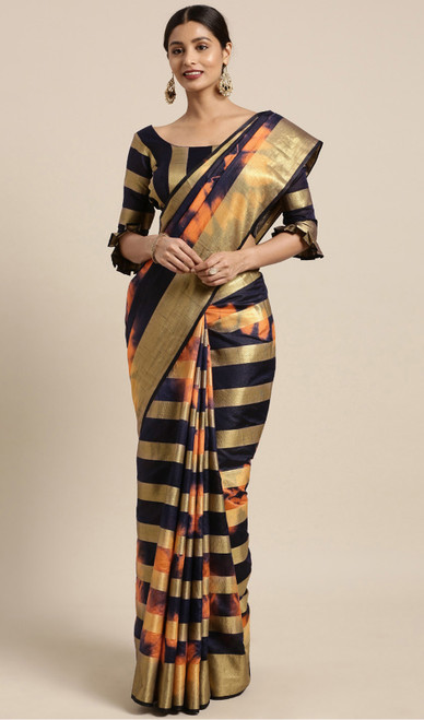 Black and Orange Color Shaded Banarasi Silk Sari