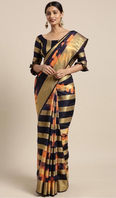 Black and Orange Color Shaded Banarasi Silk Sari