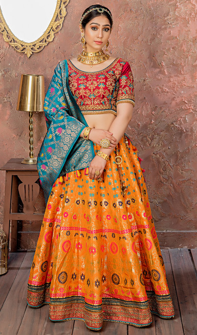 Yellow Color Embroidered Silk Lehenga Choli