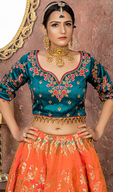 Silk Embroidered Orange Color  Choli Skirt