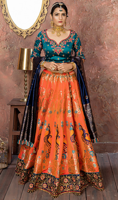 Silk Embroidered Orange Color  Choli Skirt