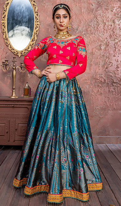 Blue Color Silk Embroidered Choli Skirt