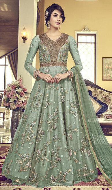 Embroidered Green Color Net Anarkali Dress