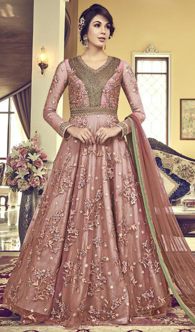 Beige Color Embroidered Net Anarkali Suit