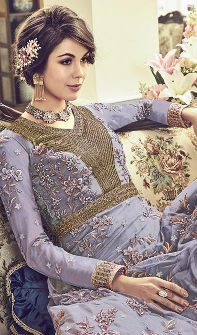 Gray Color Anarkali Suit in Embroidered Net