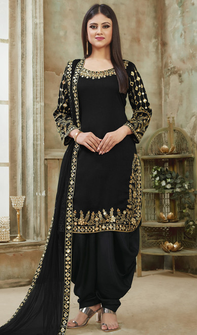 Black Color Embroidered Art Silk Patiala Suit