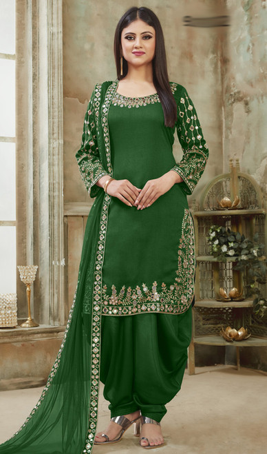 Green Color Art Silk Embroidered Patiala Dress