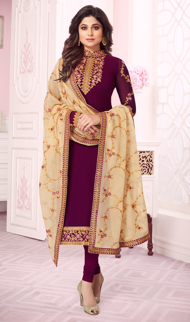 Shamita Shetty Purple  Color Georgette Churidar Suit