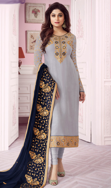 Shamita Shetty Gray Color Georgette Churidar Kameez