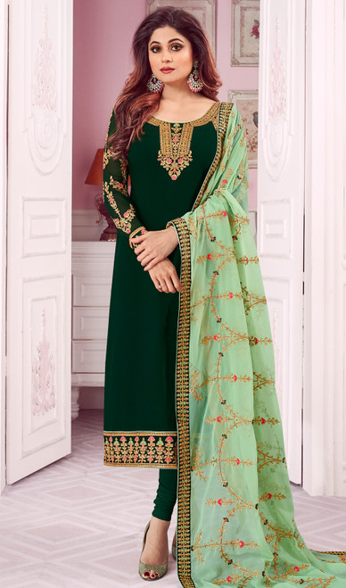 Shamita Shetty Green Color Georgette Churidar Suit