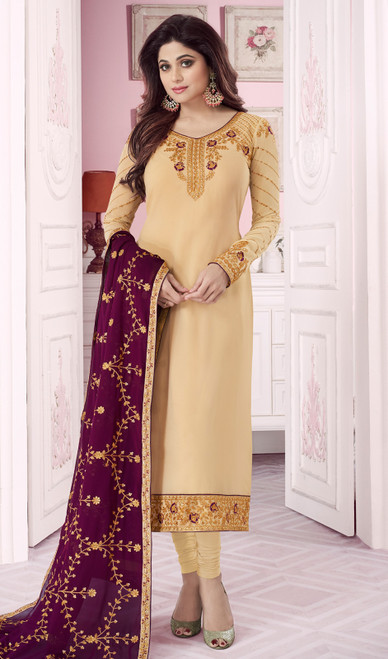 Shamita Shetty Beige Color Georgette Churidar Dress