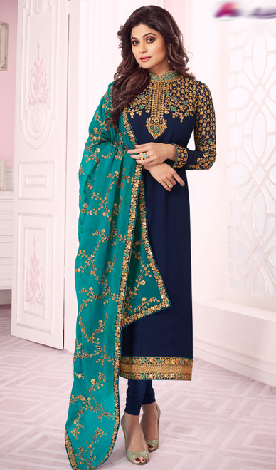 Shamita Shetty  Blue Color Georgette Churidar Kameez