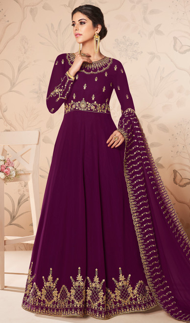 Purple Color Embroidered Georgette Anarkali Suit