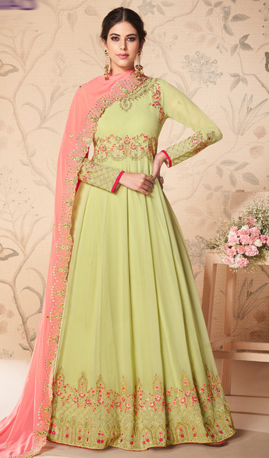 Light Green Color Georgette Embroidered Anarkali Dress