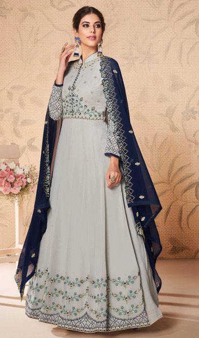 Embroidered Gray Color Georgette Anarkali Suit