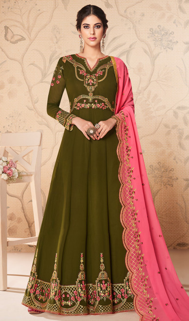 Dark Green Color Georgette Embroidered Anarkali Dress