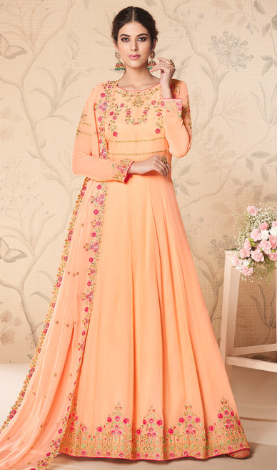Embroidered Georgette Peach Color Anarkali Suit