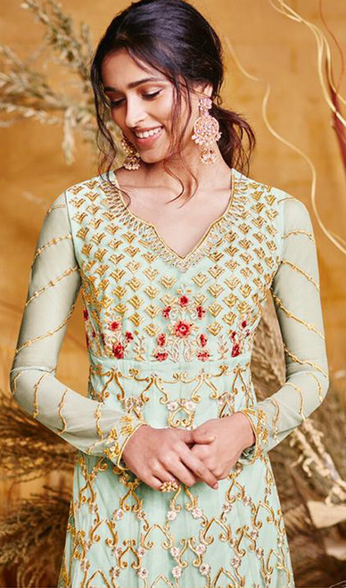 Turquoise Color Net Embroidered Anarkali Dress
