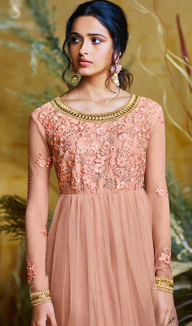 Embroidered Net Peach Color Anarkali Suit