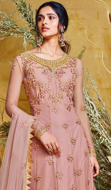 Anarkali Suit in Pink Color Embroidered Net