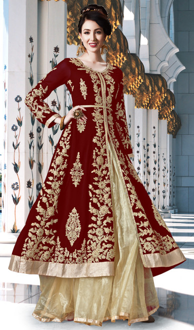 Maroon Color Embroidered Georgette Lehenga Dress