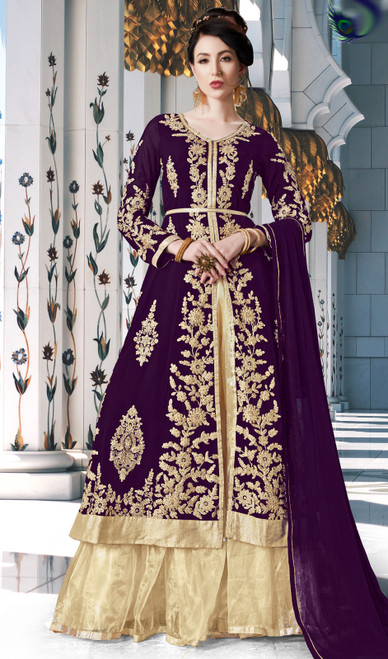 Purple Color Embroidered Georgette Lehenga Choli Dress