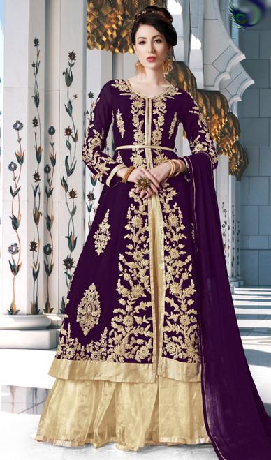 Purple Color Embroidered Georgette Lehenga Choli Dress