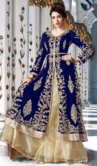 Blue Color Georgette Embroidered Lehenga Choli Suit