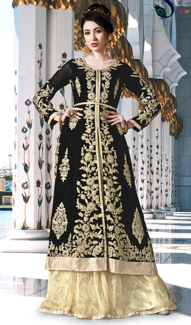 Black Color Embroidered Georgette Lehenga Choli Dress