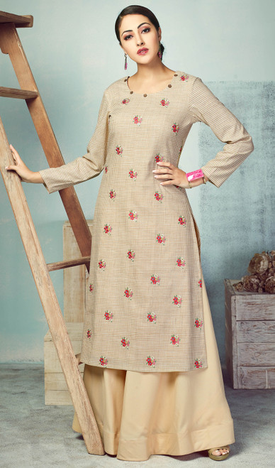 Beige Color Shaded Handloom Palazzo Suit