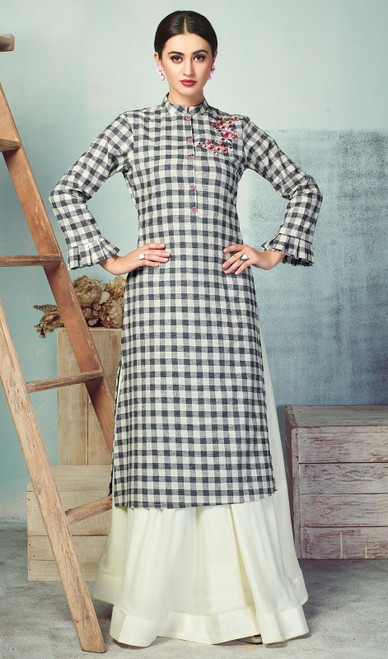 Black and White Color Handloom Palazzo Dress